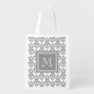 Your Monogram, Grey Damask Pattern 2 Reusable Grocery Bag