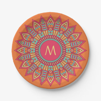 Your Monogram in a Boho Frame paper plates