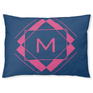 Your Monogram in Geometric Pattern dog beds