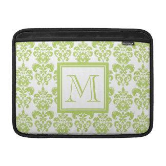 Your Monogram, Light Green Damask Pattern 2 MacBook Sleeve