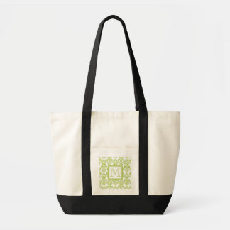 Your Monogram, Light Green Damask Pattern 2 Tote Bag