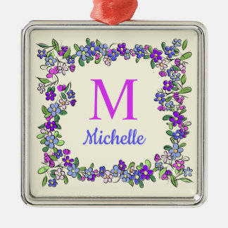 Your Monogram & Name in Flower Frame Christmas Ornament