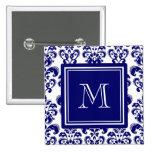 Your Monogram, Navy Blue Damask Pattern 2