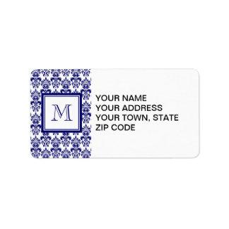Your Monogram, Navy Blue Damask Pattern 2 Label
