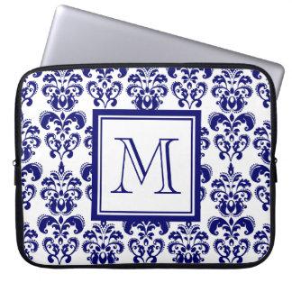 Your Monogram, Navy Blue Damask Pattern 2 Laptop Sleeve