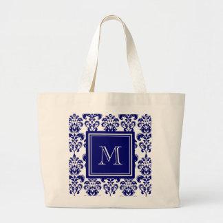 Your Monogram, Navy Blue Damask Pattern 2 Large Tote Bag