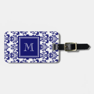 Your Monogram, Navy Blue Damask Pattern 2 Luggage Tag