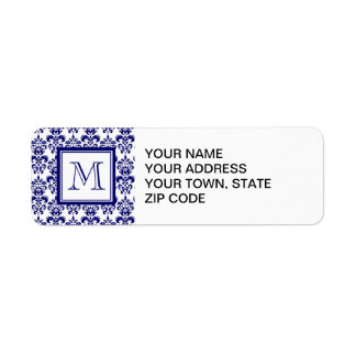 Your Monogram, Navy Blue Damask Pattern 2 Return Address Label