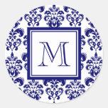 Your Monogram, Navy Blue Damask Pattern 2 Round Sticker