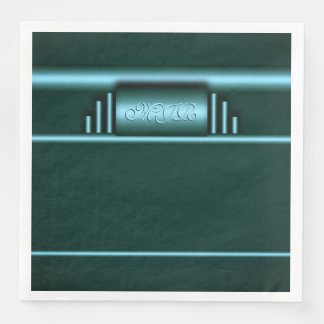Your monogram on art deco electric blue and teal paper napkin