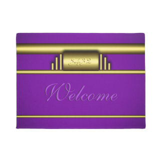 Your monogram on art deco gold and royal purple doormat