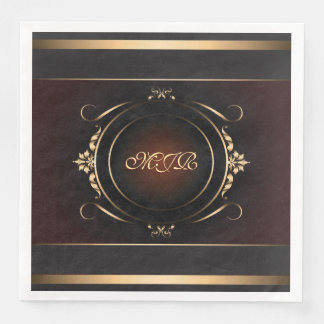 Your monogram on royal burgundy and gold paper napkin