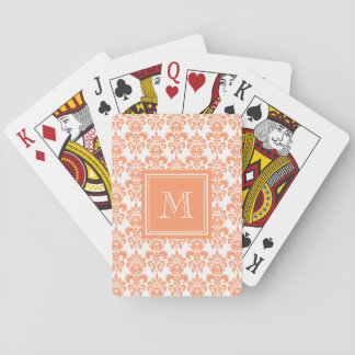 Your Monogram, Orange Damask Pattern 2    Product Playing Cards