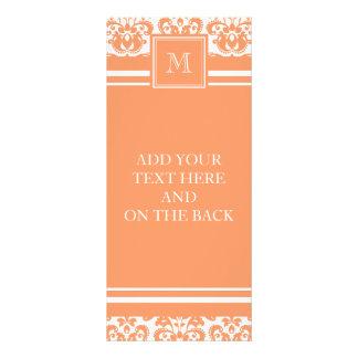 Your Monogram, Orange Damask Pattern 2    Product Rack Card