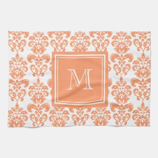 Your Monogram, Orange Damask Pattern 2    Product Tea Towel