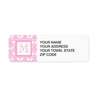 Your Monogram, Pink Damask Pattern 2
