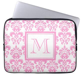 Your Monogram, Pink Damask Pattern 2 Laptop Sleeve