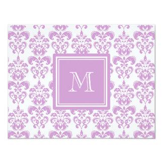 Your Monogram, Purple Damask Pattern 2 11 Cm X 14 Cm Invitation Card