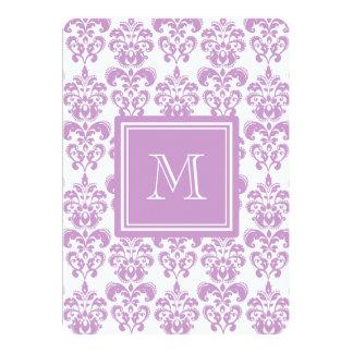 Your Monogram, Purple Damask Pattern 2 13 Cm X 18 Cm Invitation Card