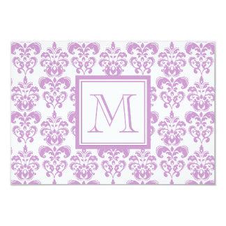 Your Monogram, Purple Damask Pattern 2 9 Cm X 13 Cm Invitation Card