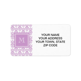 Your Monogram, Purple Damask Pattern 2 Address Label