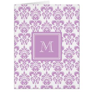Your Monogram, Purple Damask Pattern 2 Greeting Cards