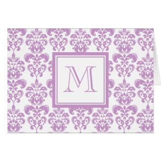 Your Monogram, Purple Damask Pattern 2 Card
