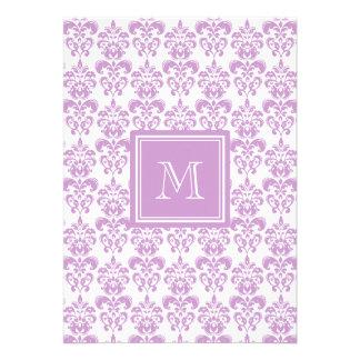 Your Monogram Purple Damask Pattern 2 Cards