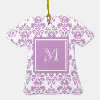 Your Monogram, Purple Damask Pattern 2 Christmas Ornament
