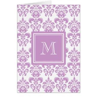 Your Monogram, Purple Damask Pattern 2 Greeting Card