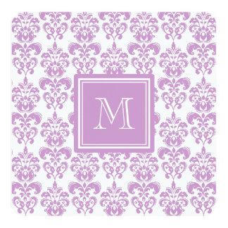 "Your Monogram, Purple Damask Pattern 2 5.25"" Square Invitation Card"