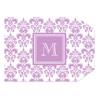 Your Monogram, Purple Damask Pattern 2 5x7 Paper Invitation Card