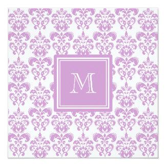 Your Monogram, Purple Damask Pattern 2 13 Cm X 13 Cm Square Invitation Card