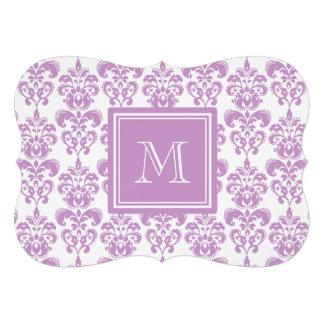 Your Monogram Purple Damask Pattern 2 Custom Invite