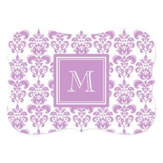 "Your Monogram, Purple Damask Pattern 2 5"" X 7"" Invitation Card"