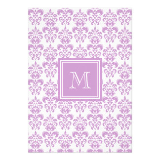 Your Monogram Purple Damask Pattern 2 Cards