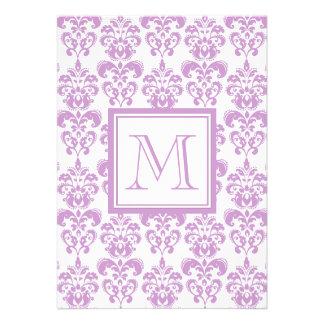 Your Monogram Purple Damask Pattern 2 Invitation
