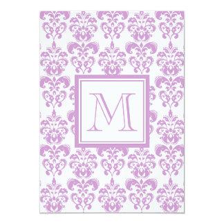 Your Monogram, Purple Damask Pattern 2 Invitation