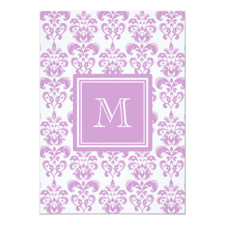 Your Monogram, Purple Damask Pattern 2 Personalized Announcement