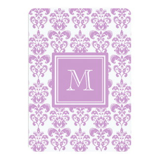 Your Monogram, Purple Damask Pattern 2 Personalized Invite
