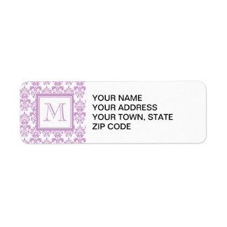 Your Monogram, Purple Damask Pattern 2 Return Address Label
