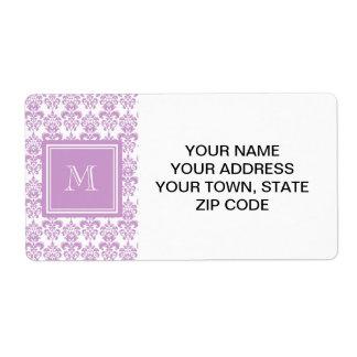 Your Monogram, Purple Damask Pattern 2 Shipping Label