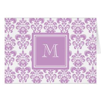 Your Monogram, Purple Damask Pattern 2 Note Card