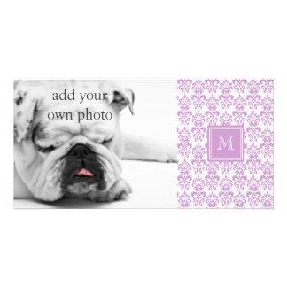 Your Monogram, Purple Damask Pattern 2 Photo Greeting Card