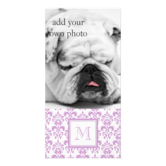 Your Monogram Purple Damask Pattern 2 Picture Card