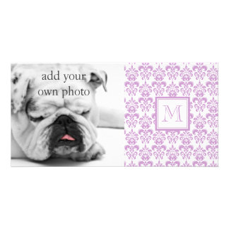 Your Monogram, Purple Damask Pattern 2 Picture Card