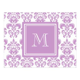 Your Monogram, Purple Damask Pattern 2 Postcard