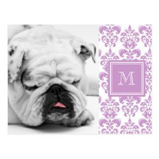 Your Monogram, Purple Damask Pattern 2 Postcards