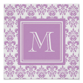 Your Monogram, Purple Damask Pattern 2 Poster