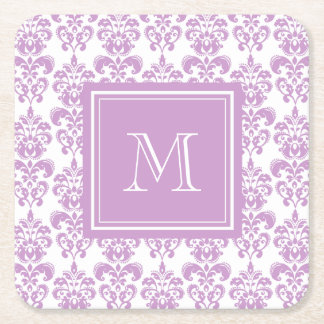 Your Monogram, Purple Damask Pattern 2 Square Paper Coaster